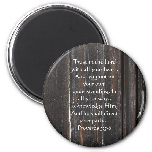 Inspirational Bible Quote Proverbs 3:5-6 Fridge Magnet