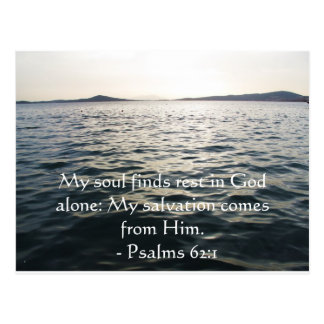 Inspirational Bible quote Psalms 62:1 Post Cards