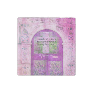 Inspirational Bible Verse About Strength & Faith Stone Magnet