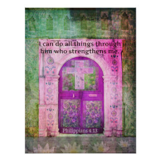 Inspirational Bible Verse About Strength & Faith Poster