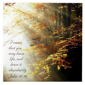 Inspirational Bible Verse John 10 10 Fall Trees Tile