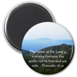 Inspirational Bible verse Proverbs 18:10 6 Cm Round Magnet