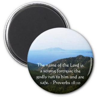 Inspirational Bible verse Proverbs 18 10 Magnet