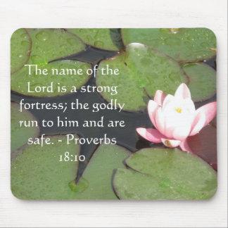 Inspirational Bible verse Proverbs 18:10 Mouse Mat