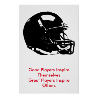 Inspirational Black White Pop Art Football Helmet Poster