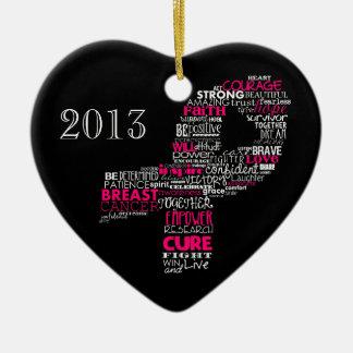 Inspirational Breast Cancer Awareness Ribbon Ceramic Heart Decoration