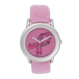 Inspirational Breast Cancer Awareness Ribbon Wrist Watch