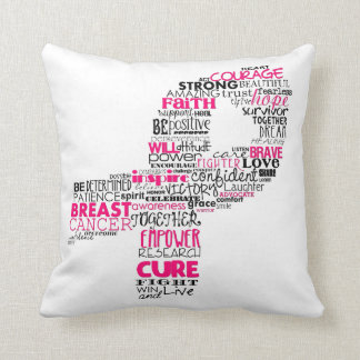 Inspirational Breast Cancer Awareness Ribbon Throw Cushion
