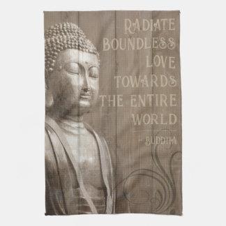 Inspirational Buddha Art Faux Wood Buddhist Quote Tea Towel