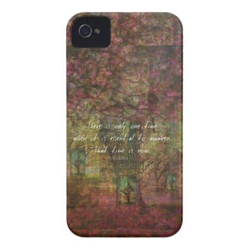 Inspirational Buddhist Quote with Dreamy painting iPhone 4 Case-Mate Case