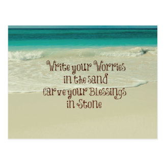 Inspirational Carve your Blessings in Stone Quote Postcard