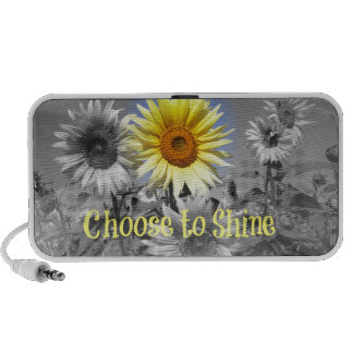 Inspirational Choose to Shine Quote with Sunflower Portable Speakers