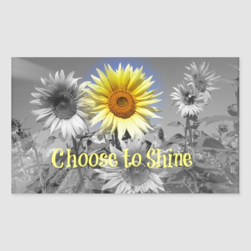 Inspirational Choose to Shine Quote with Sunflower Rectangular Stickers