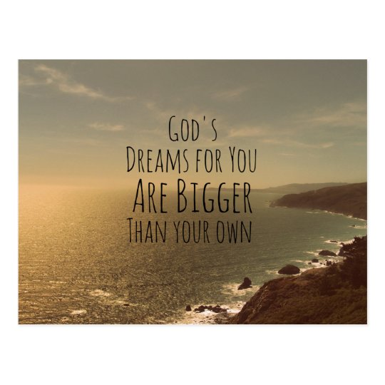 Inspirational Christian Quote God's Dreams for You Postcard