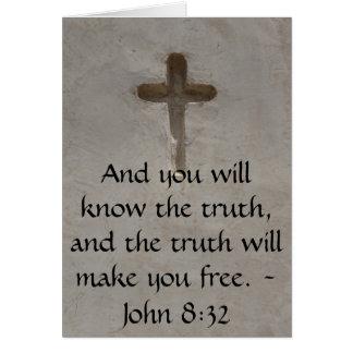 Inspirational Christian Quote - John 8:32 Greeting Card