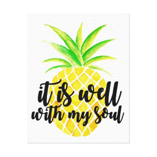 Inspirational Christian Typography Pineapple Canvas Print