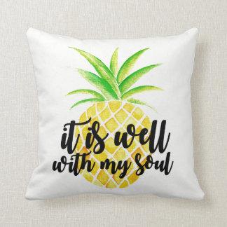 Inspirational Christian Typography Pineapple Cushion