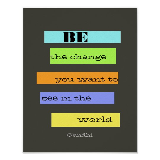 inspirational colourful Gandhi quote poster