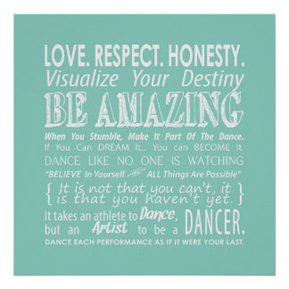 Inspirational Dance Quotes Poster- Aqua Poster