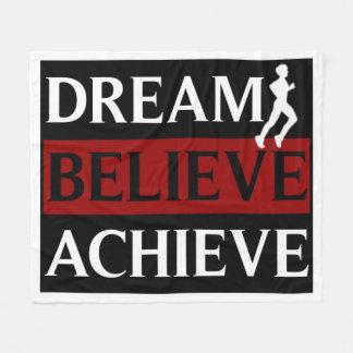 Inspirational Dream Believe Achieve Runner Fleece Blanket