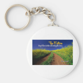 Inspirational Dream Quote -- Eleanor Roosevelt Basic Round Button Key Ring