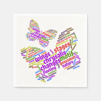 Inspirational Elegant Butterfly Tag Cloud Paper Napkin