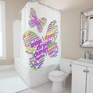 Inspirational Elegant Butterfly Tag Cloud Shower Curtain