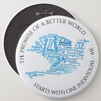 Inspirational Elegant Dove of Peace Tag Cloud 6 Cm Round Badge