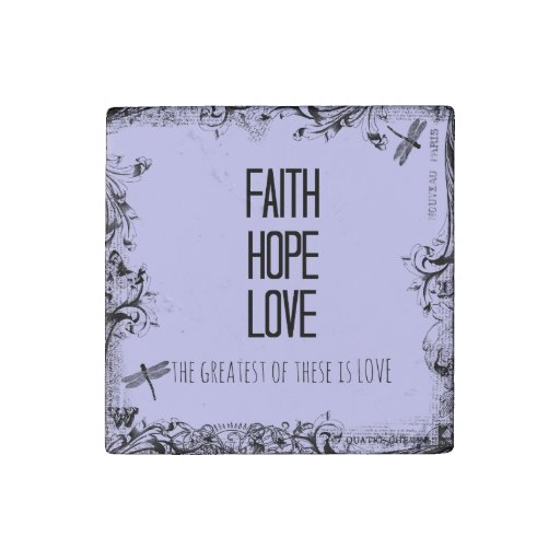 Inspirational Faith Hope Love Bible Verse Stone Magnet