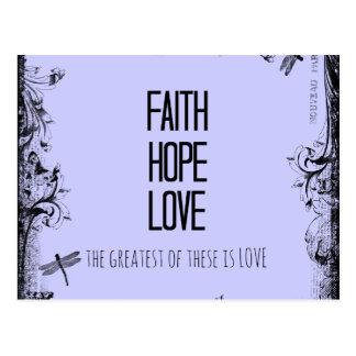 Inspirational Faith Hope Love Bible Verse Postcard