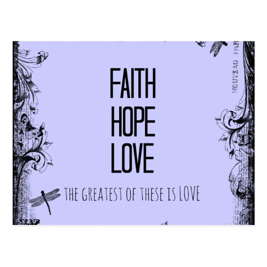 Inspirational Faith Hope Love Bible Verse Postcard