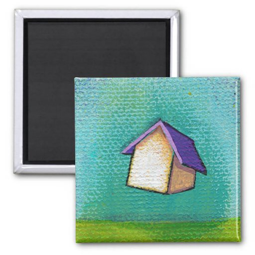 Inspirational flying house traveling home fun art refrigerator magnet