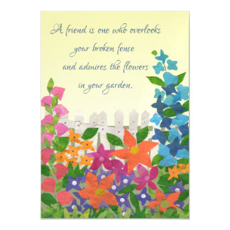 Inspirational Friendship Garden Quote Magnetic Invitations