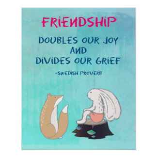Inspirational Friendship QuoteCute Animal Sketch Poster