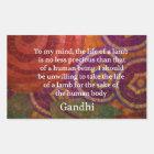 Inspirational Gandhi animal rights quote ART Rectangular Sticker