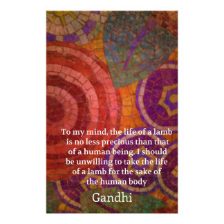 Inspirational Gandhi animal rights quote ART Customized Stationery