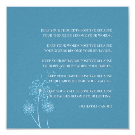 Inspirational   Gandhi Quote Positive Thinking Poster