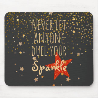 Inspirational Girly Sparkle Quote | Gold Confetti Mouse Mat