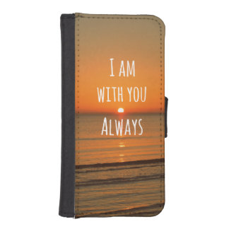 Inspirational God Quote: Bible Verse I am With You iPhone SE/5/5s Wallet Case