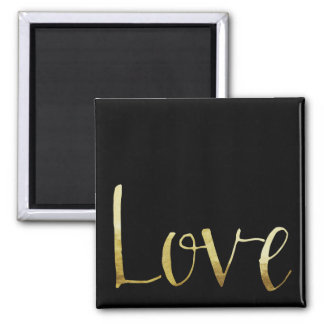 Inspirational Gold and Black Glam Love Square Magnet