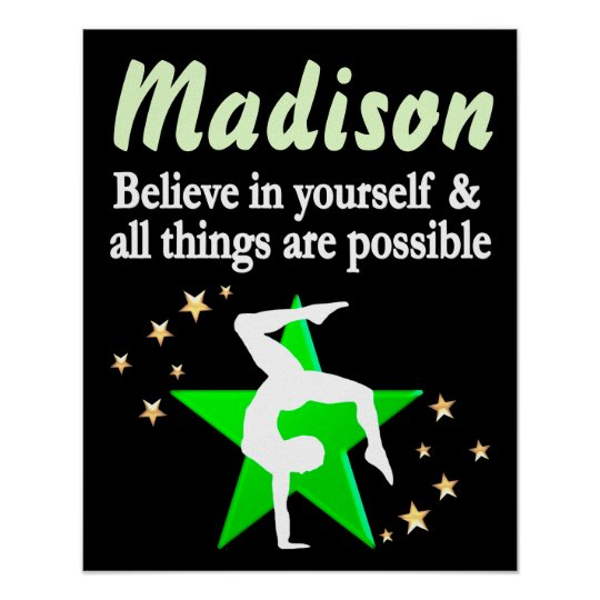INSPIRATIONAL GREEN PERSONALIZED GYMNASTICS POSTER