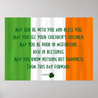 Inspirational Irish Blessing God Bless St. Patrick Poster
