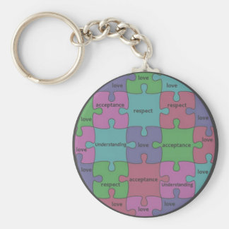 INSPIRATIONAL JIGSAW PUZZLE QUOTE BASIC ROUND BUTTON KEY RING