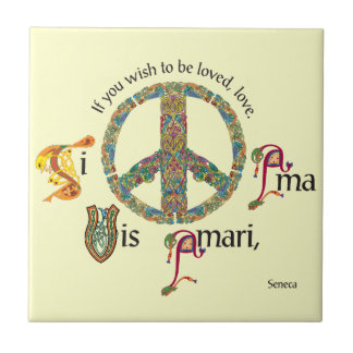 Inspirational Latin Tile with Peace Sign