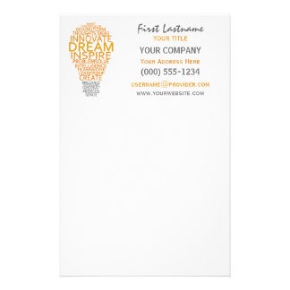 Inspirational Light Bulb custom stationary Customized Stationery