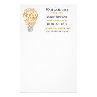 Inspirational Light Bulb custom stationary Customized Stationery
