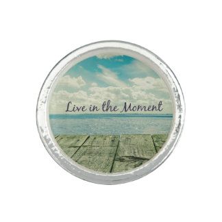 Inspirational Live in the Moment Quote Ring