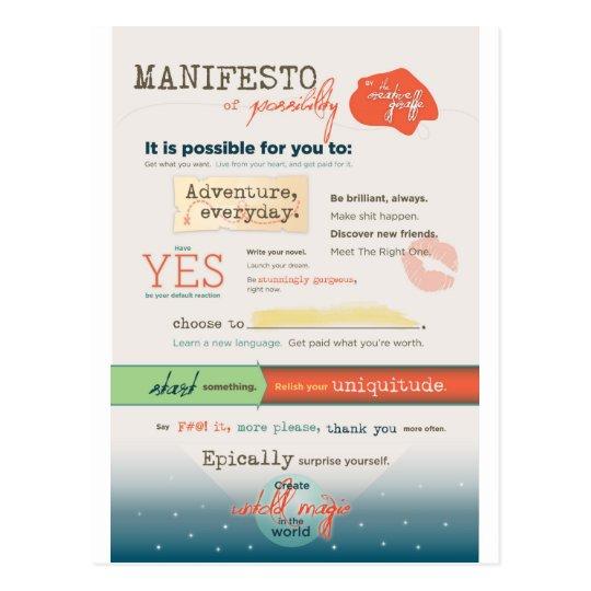 Inspirational Manifesto Postcard
