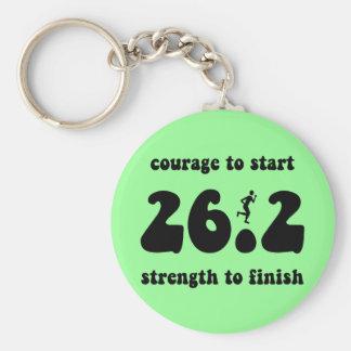 Inspirational marathon basic round button key ring