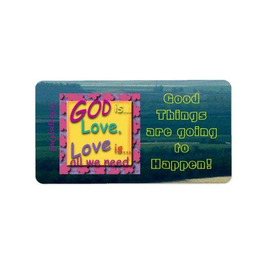 Inspirational Message God Is Love Address Label